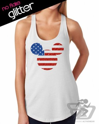 f1a6583c2979b Glitter 4th of July flag (Bella Designs) – get a simple Mickey head  decorated like the American flag with this glittery tank top.