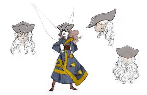 Bocetos de Zarina, el hada pirata, del vestuario y sombrero - old.disneylandiaaldia.com