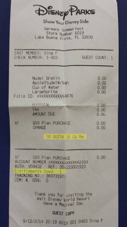 Each receipt shows the number of Quick Service Coupons Remaining and the number of Entitlements used in that transaction