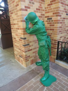Green Army Man signing a birthday card for us.