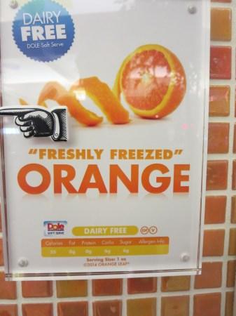 Orange Dole Whip at a Frozen Yogurt mall kiosk