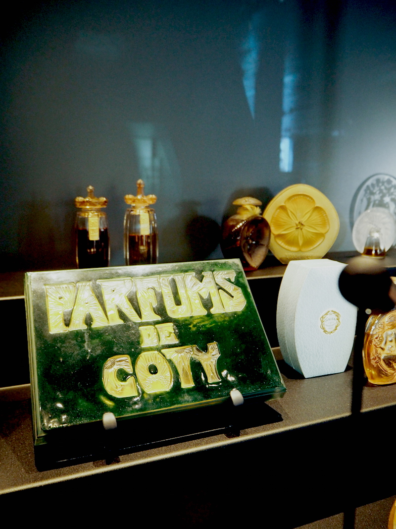 original Lalique perfume bottles on display at the Lalique Museum in Alsace