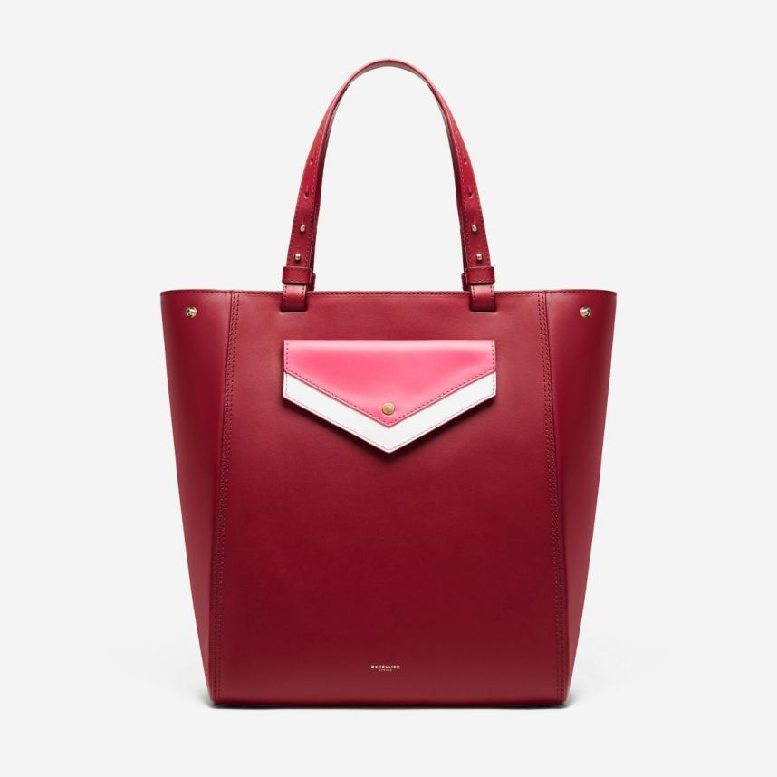 Demellier San Diego tote bag in berry magenta white