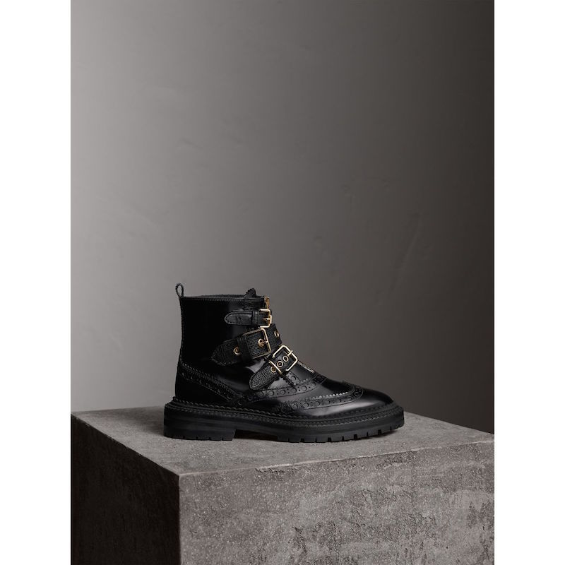 Burberry buckled brogue boot