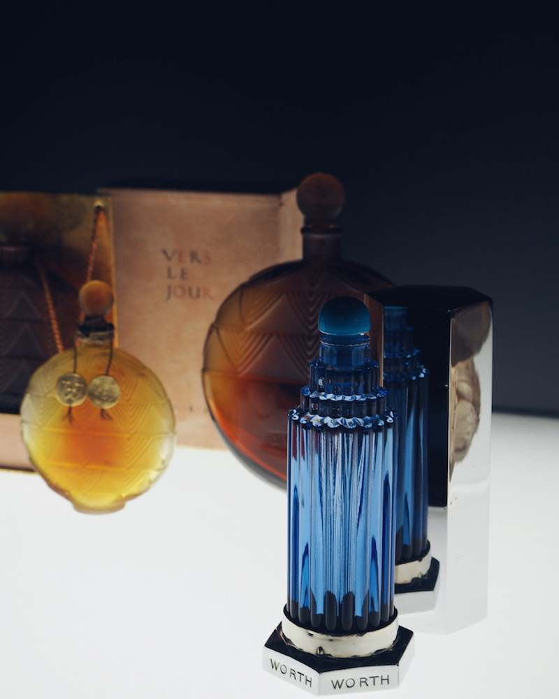 original Lalique Worth perfume bottle on display at the Lalique Museum in Alsace