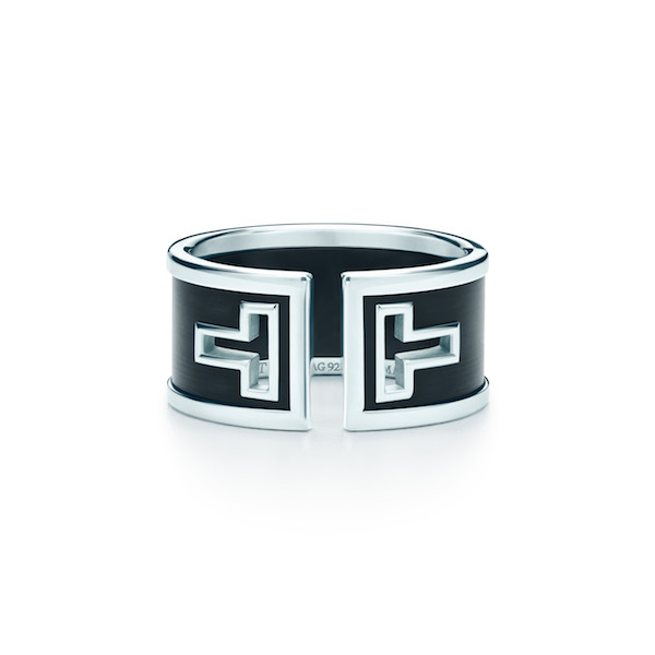 Tiffany T cutout ring in sterling silver with black ceramic exclusive to Selfridges