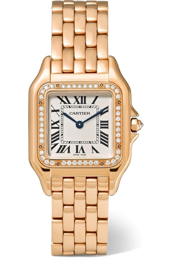 Cartier Panthere 18 karat rose gold diamond watch Netaporter