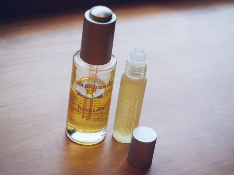 Facial oils Goldfaden MD Fleuressence Botanical Cell Oil and Liz Earle Superskin Concentrate For Night
