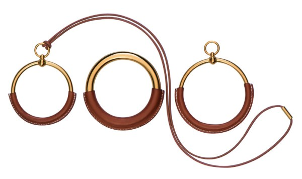 Hermes AW15 Loop pendant and bracelets in calfskin and gilded metal
