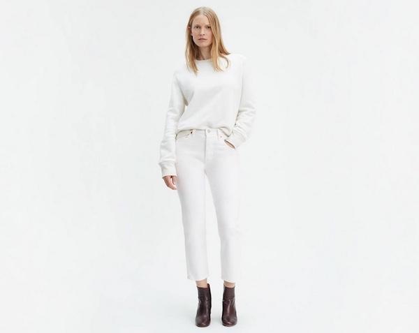 Levi's 501 cropped white jean