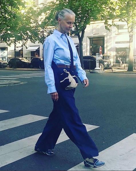 Linda V Wright wearing 45R hemp indigo jeans