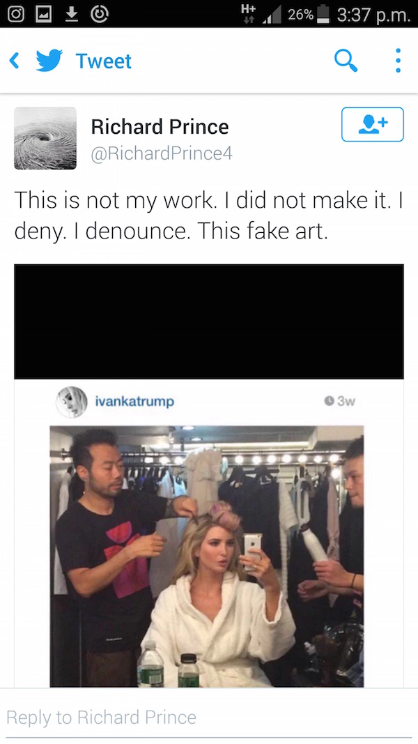 Richard Prince denounces artwork he sold to Ivanka Trump