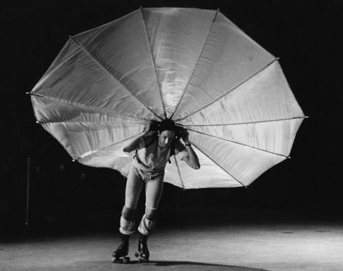 Robert Rauschenberg rollerskates Pelican performance piece