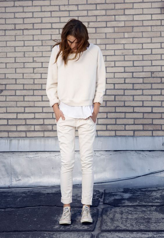 Winter white casual style