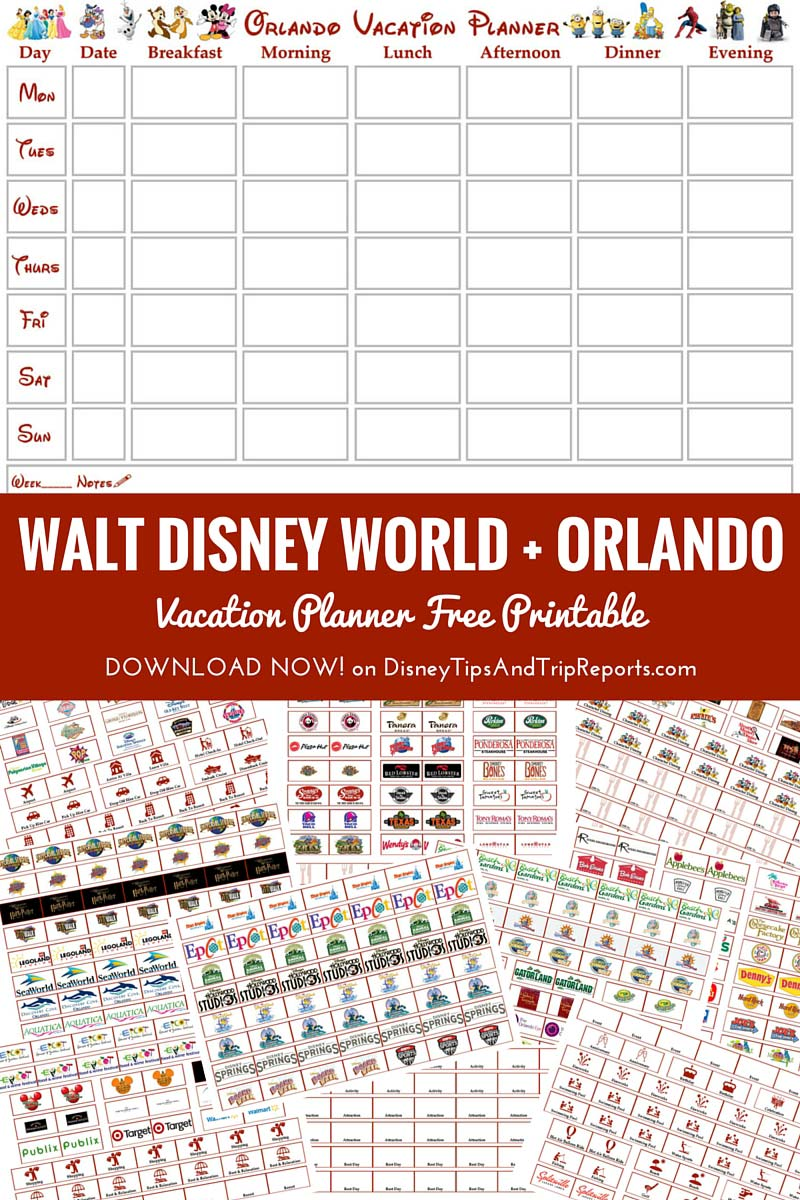 Walt Disney World Orlando Vacation Planner Free Printable Updated