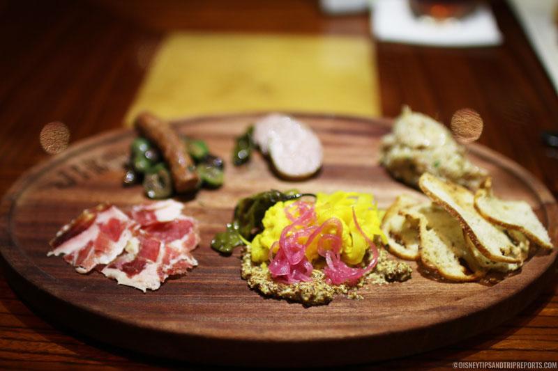Charcuterie- Lamb Merguez, Smoked Chicken Rillettes, Mangalica Jamón, Duck Sausage, Accoutrements