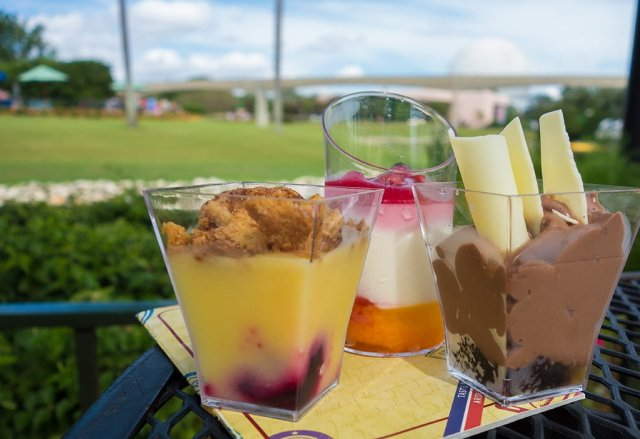 Dessert Trio at Epcot's Food & Wine Festival is one of the top snacks...read about 20+ other great choices!
