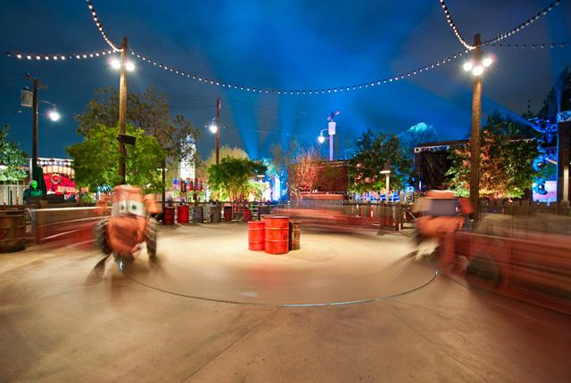 Mater's Junkyard Jamboree at night