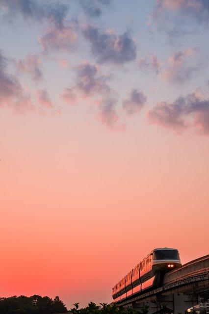 monorail-negative-space-sunrise