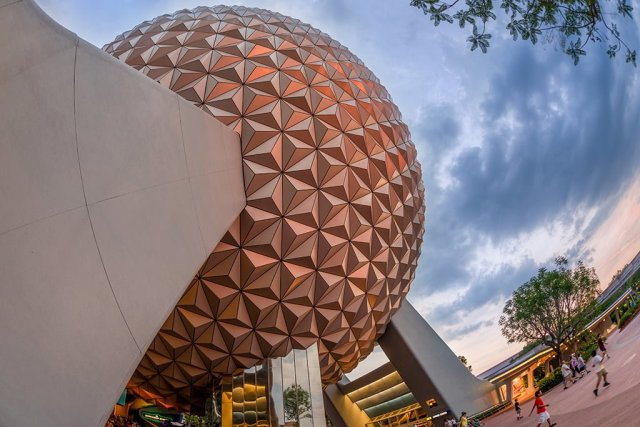 spaceship-earth-fisheye-dusk