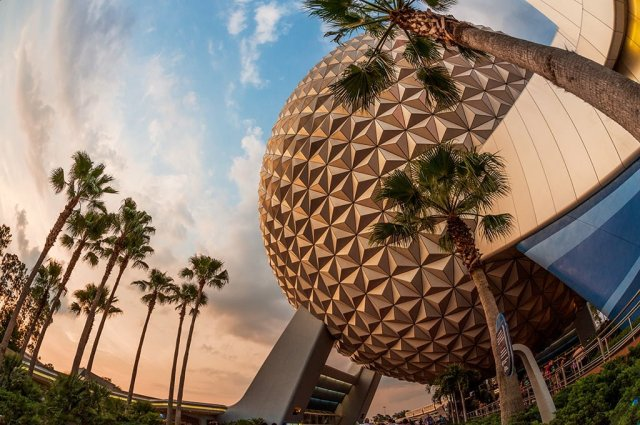 spaceship-earth-fisheye-sunset