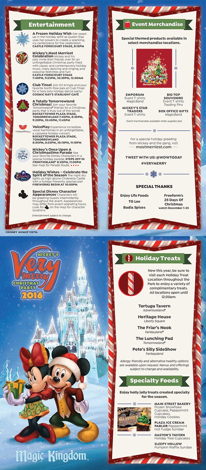 2016 mickeys very merry christmas party map - Mickeys Christmas Party Tickets