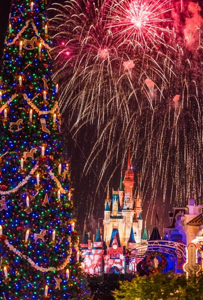 the christmas fireworks holiday wishes are the highlight of the holiday season these are shown in full during mickeys very merry christmas party - Disneyworld Christmas