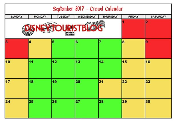 September Disneyland Crowd Calendar Disney Tourist Blog