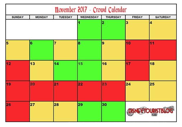 Disneyland Calendar 2020.November Disneyland Crowd Calendar Disney Tourist Blog