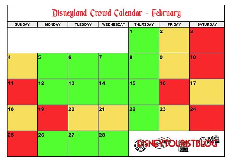 February Disneyland Crowd Calendar - Disney Tourist Blog