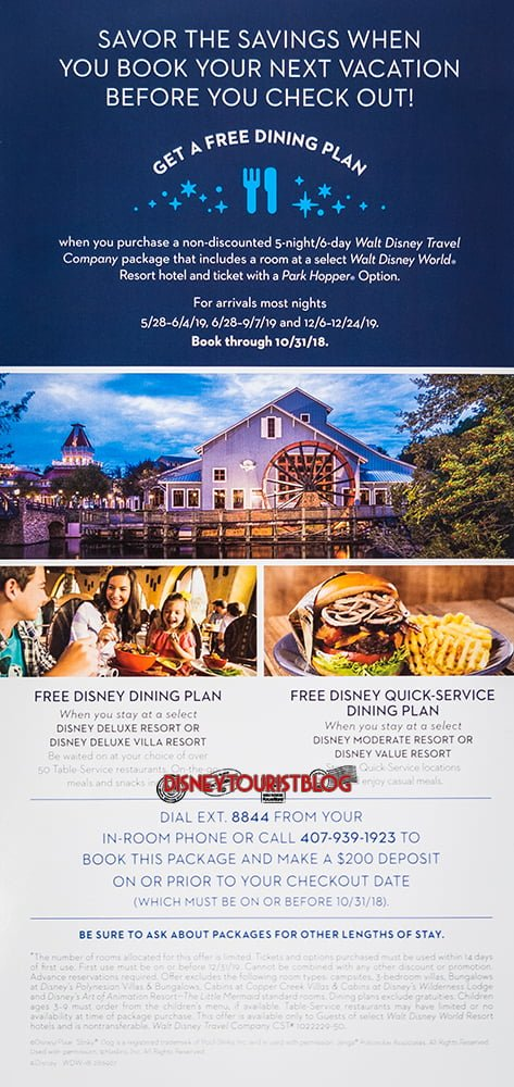 Disney world free dining 2018 2019 dates tips disney tourist blog as for the specifics of this offer the early dates arent much of a surprise these are consistent with last years bounce back datesthere are actually publicscrutiny Images