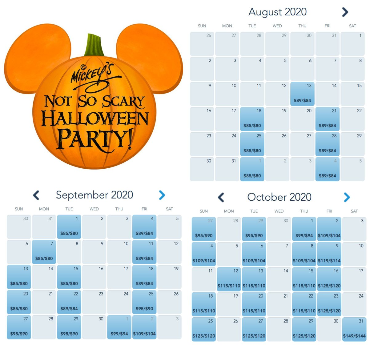 Halloween Octtober 31 2020 Disneyland Tickets Now on Sale for 2020 Mickey's Not So Scary Halloween Party