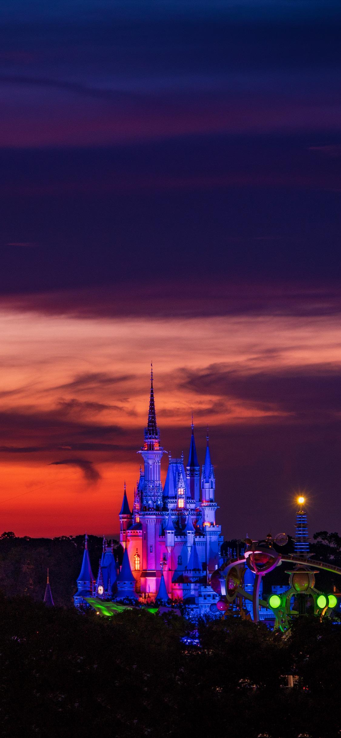 wallpaper dusk sunset cinderella castle magic kingdom disney world 659