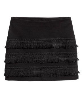 Trikå kjol med fransar 88-6863