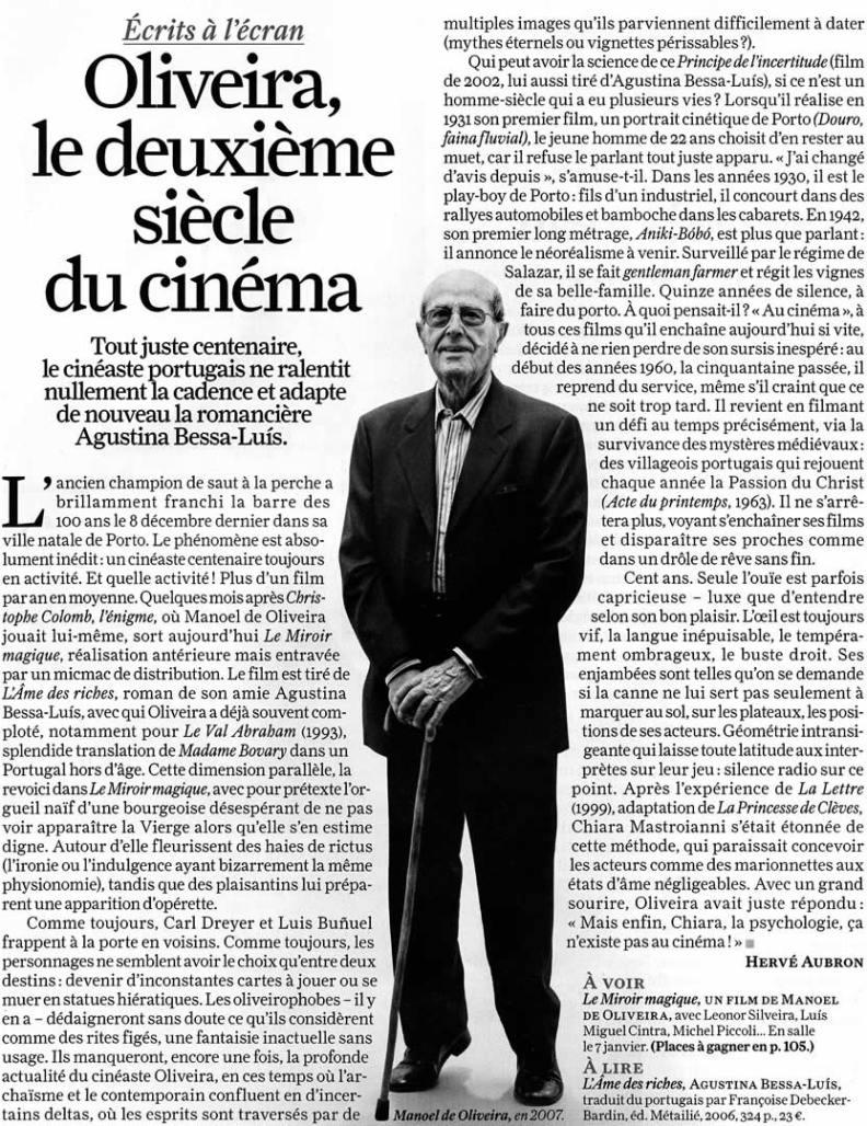Oliveira, le deuième siècle du cinéma