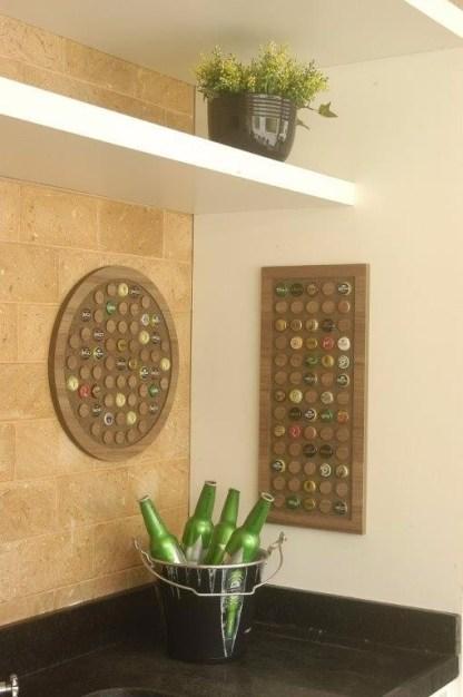 Painel decorativo circular para 42 tampinhas + Painel retangular para 65 tampinhas