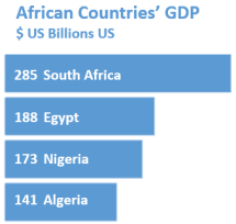Bar chart of African Country GDP with labels $US billions