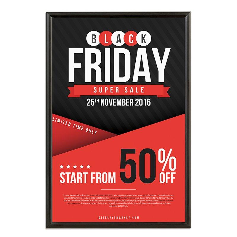24x36 snap poster frame 1 inch black profile mitered corner