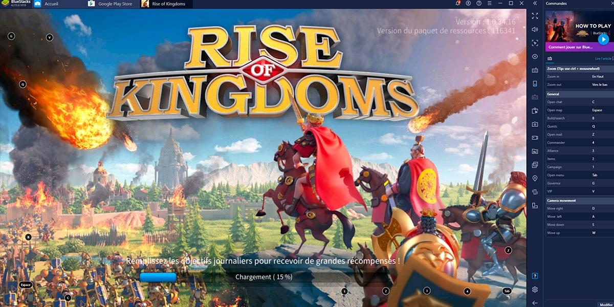Rise of Kingdoms BlueStacks écran de démarrage