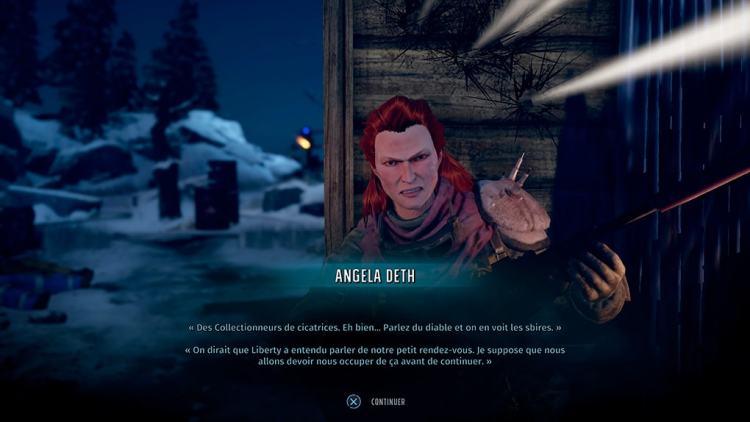 Gros plan sur Angela Deth