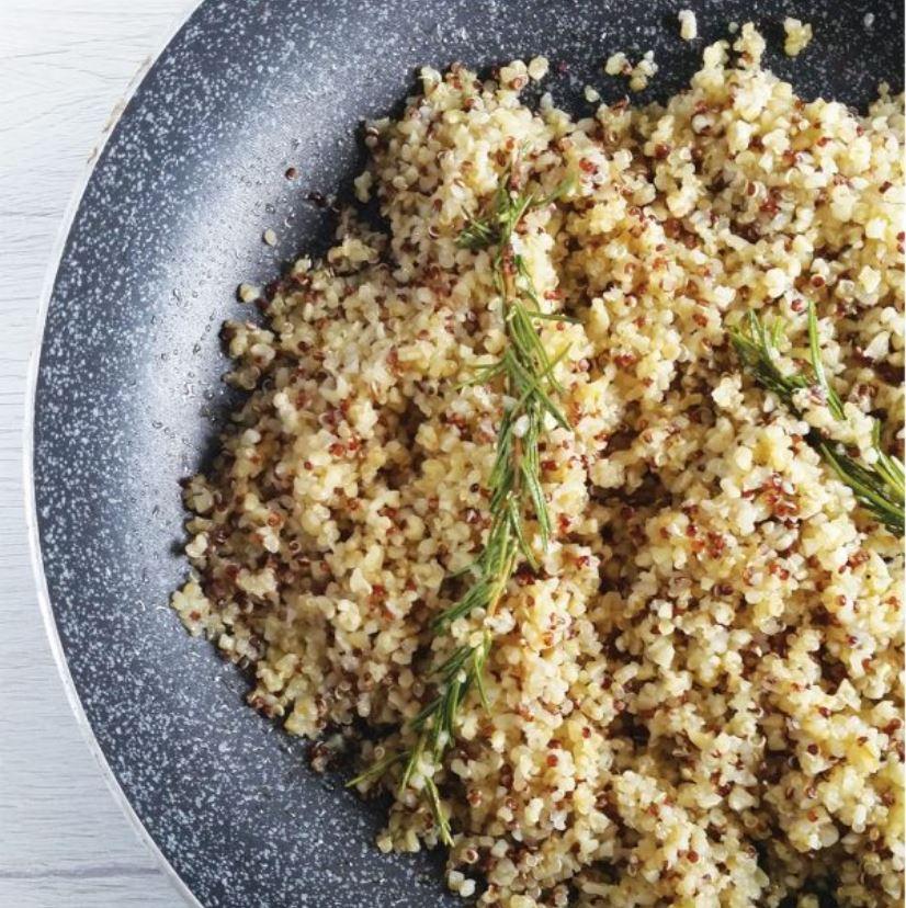 quinoa e bulgur cotti in padella