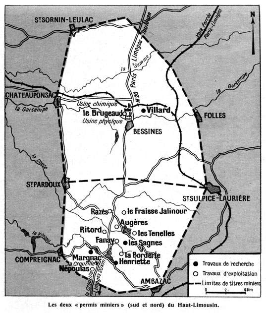 mines duranium en 1957 : en bas de la carte, La Crouzille ; au centre Razés