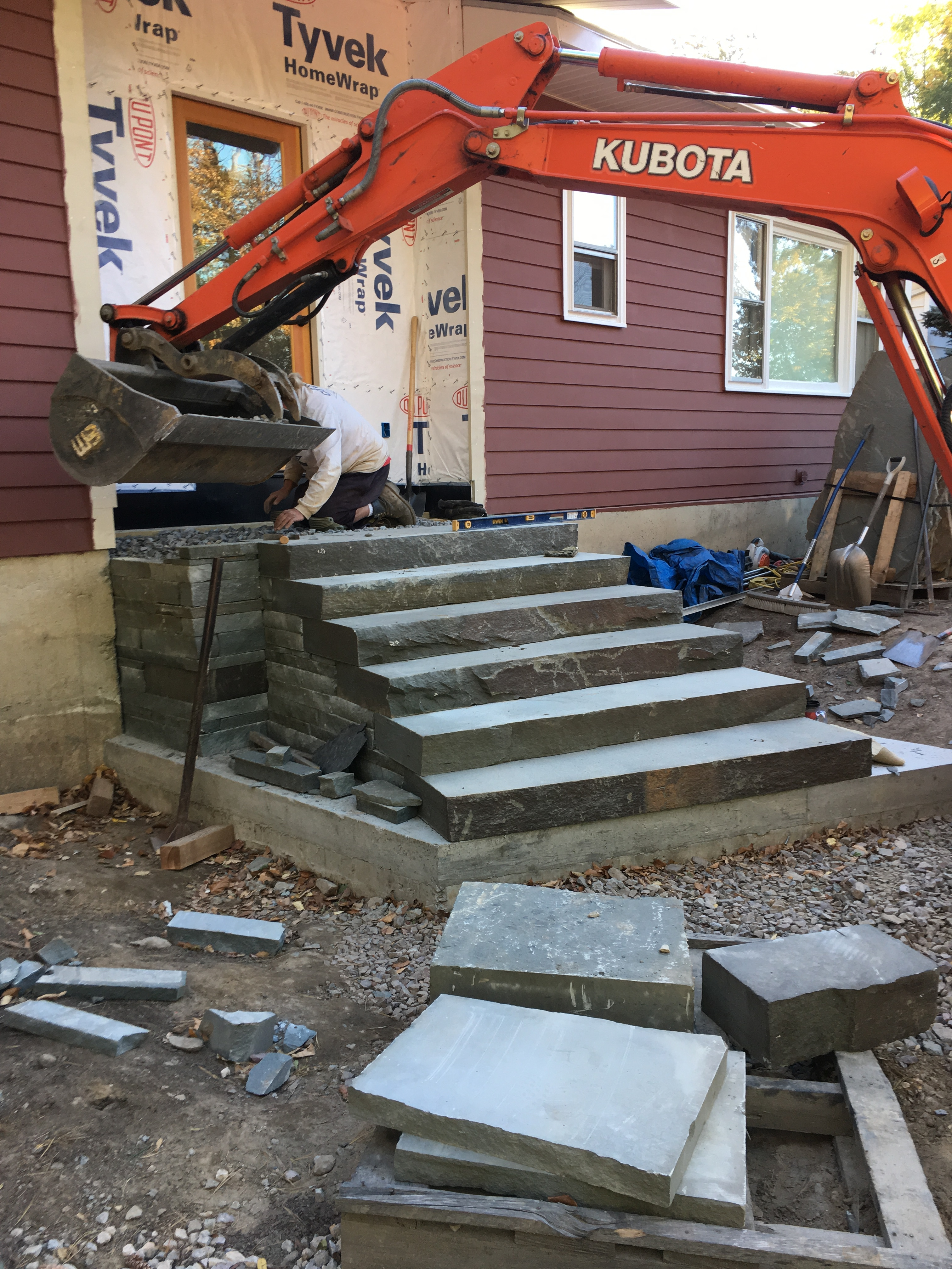 19 Installation Of Front Landing And Steps Distinctive | Front Stairs Designs With Landings | 3 Step Stair | Outdoor | Granite | Small Space | Front Yard Stair
