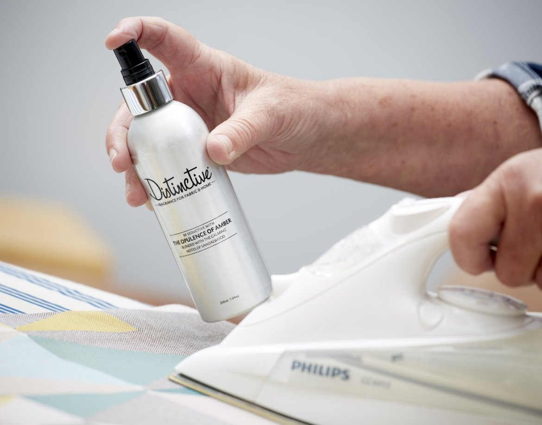 Distinctive masculine luxury sandalwood and amber fragrance spray