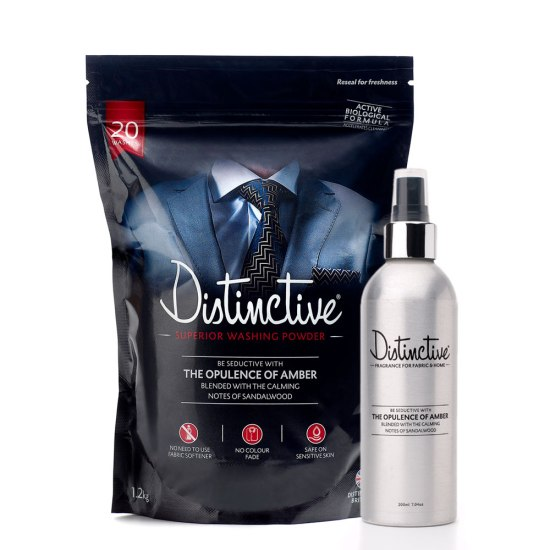 Distinctive masculine detergent plus matching fragrance for fabric & home