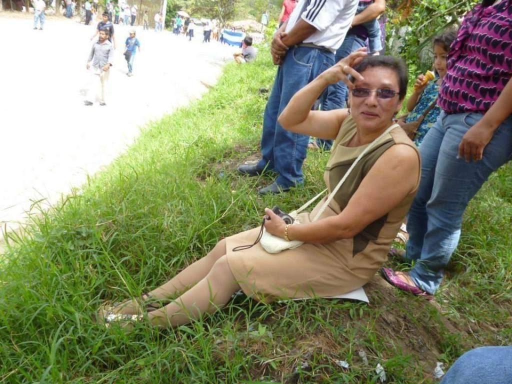Lesbia Janeth, en el marco de una protesta en Honduras