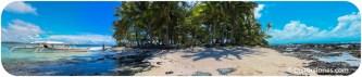 El lado rocoso del islote de Guyam