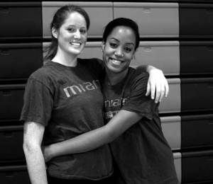 BUMP, SET, SPIKE: Lizze Hale and Taylor Hollins both play for the UM volleyball team. Hale was used primarily as a server her freshman year but is now a defensive specialist and outside hitter for the team. Hollins is also an outside hitter.