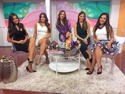"Claudia Spadaro, Daniela Longo, Dome Leone and Alessandra Angelini at UM'S hispanic entertainment show ""Enterate TV"""