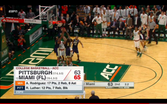Angel Rodriguez tips-in the winning basket for the 'Canes in a sea of blue / ESPN